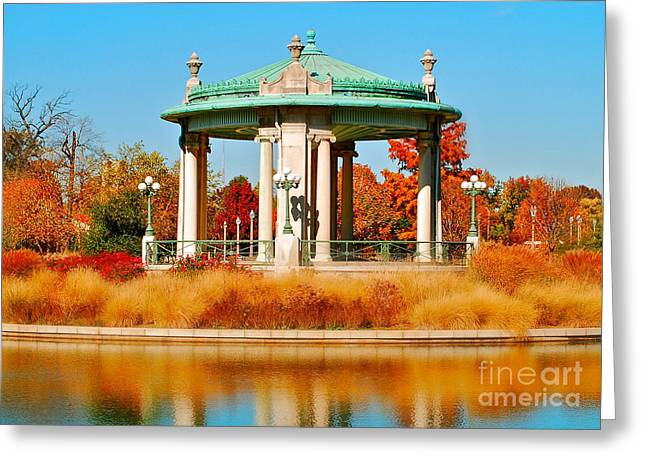 Greeting Card featuring the photograph Forest Park Gazebo by Peggy Franz
