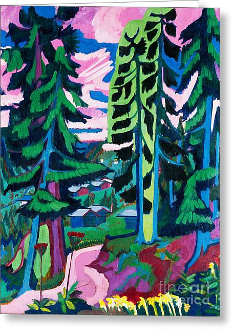 Forest Path In Summer Greeting Card by Ernst Ludwig Kirchner