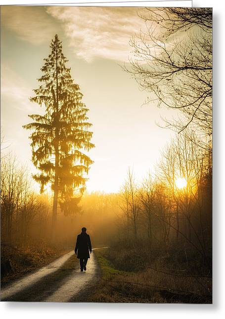Forest Path Into The Warm Orange Sunset Greeting Card