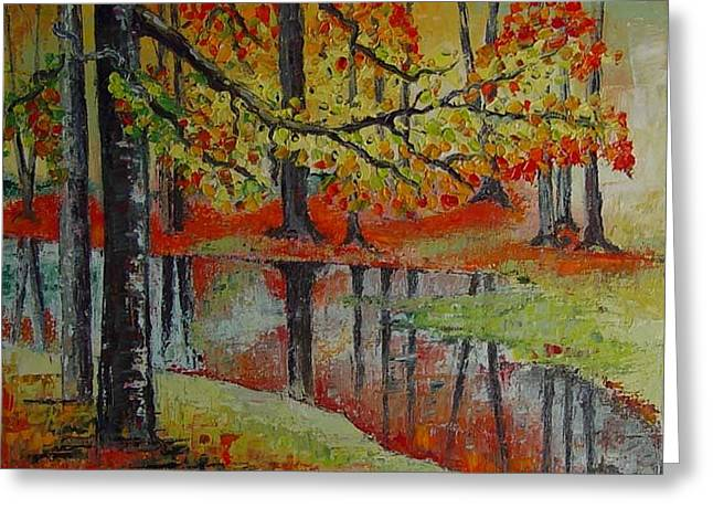 Forest Reflection Greeting Card by Lisa Elley