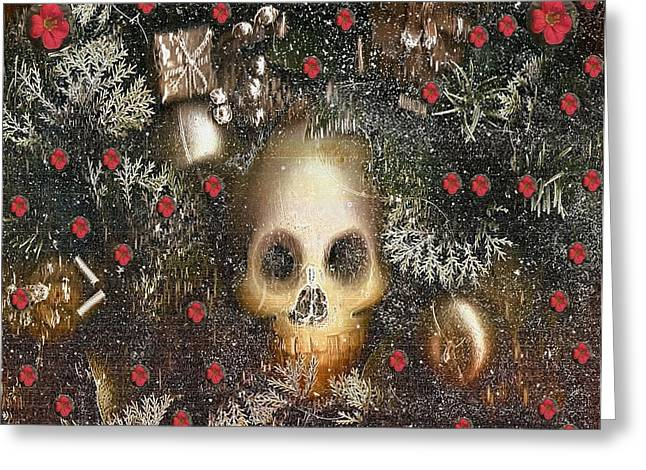 Forest Skull Pop Art Greeting Card by Pepita Selles