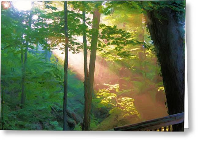Forest Sunbeam Greeting Card by Dennis Lundell