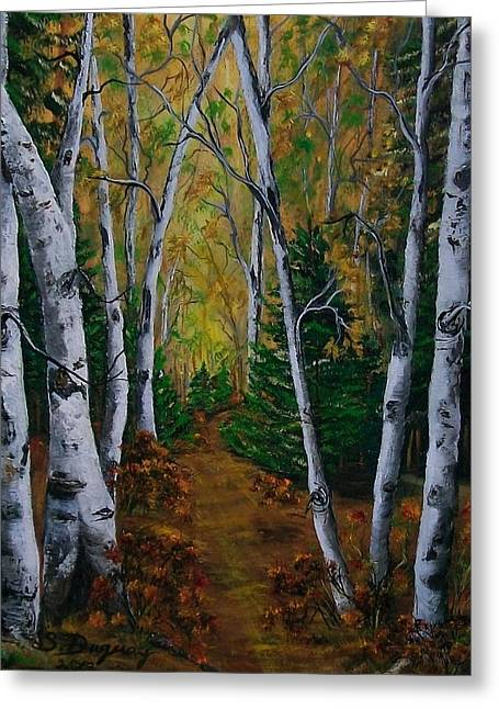 Birch Tree Forest Trail  Greeting Card