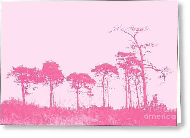 Forest Trees In Pink Greeting Card by Natalie Kinnear
