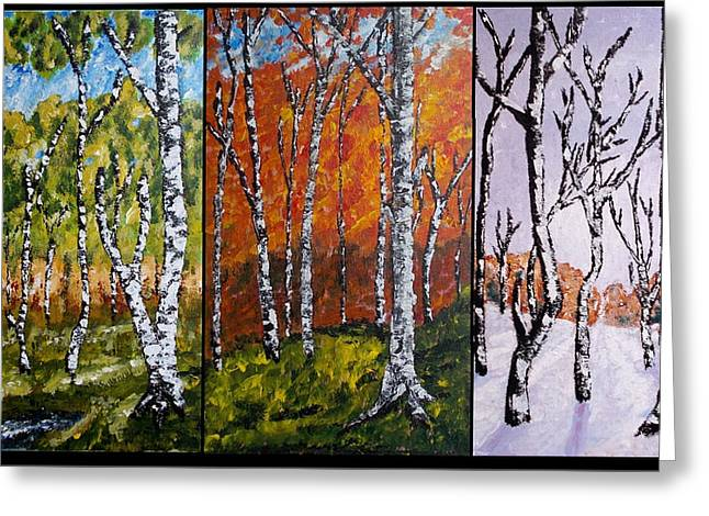 Greeting Card featuring the painting Forest Triptych by Zeke Nord