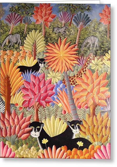 Greeting Card featuring the painting Forest With  Black Panthers by Haitian artist