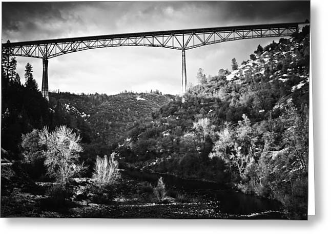 Greeting Card featuring the photograph Foresthill Bridge In The Snow 2 by Sherri Meyer