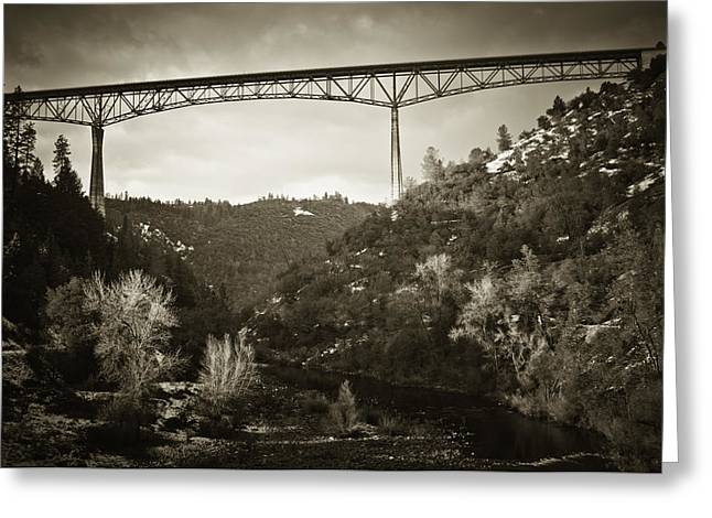 Greeting Card featuring the photograph Foresthill Bridge In The Snow #3 by Sherri Meyer