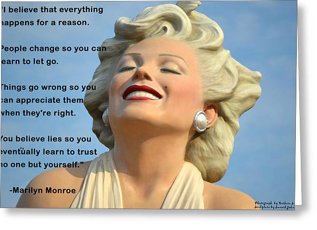 Forever Marilyn I Believe Greeting Card by Barbara Snyder