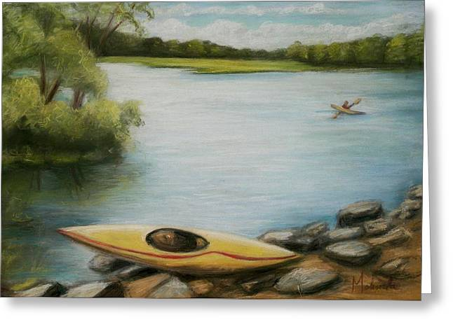 Greeting Card featuring the painting Forge Pond by Melinda Saminski