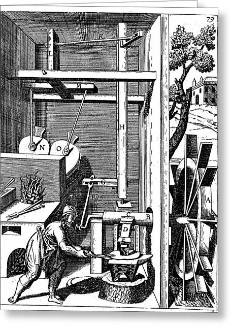Forge Showing Bellows And Hammer Greeting Card