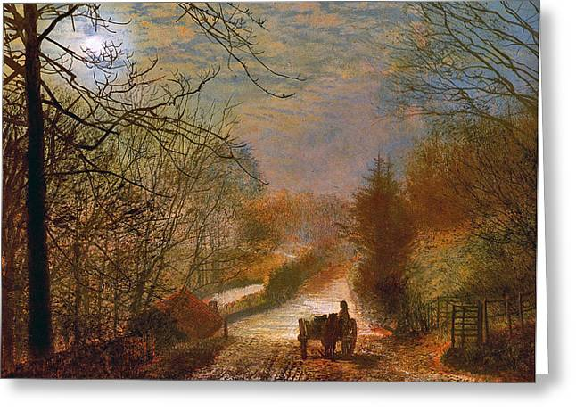 Greeting Card featuring the painting Forge Valley Near Scarborough by John Atkinson Grimshaw