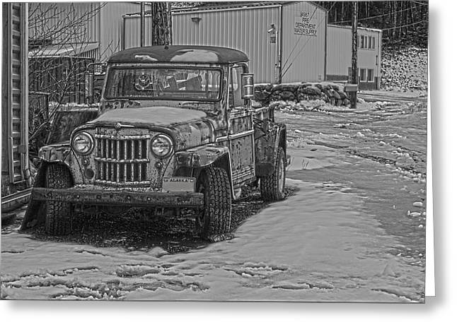 Greeting Card featuring the pyrography Forgotten Classic Truck by Timothy Latta