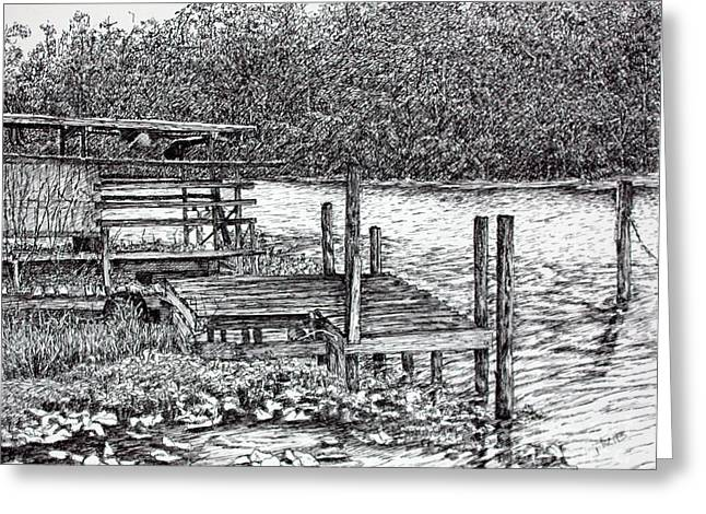 Forgotten Dock Greeting Card by Janet Felts