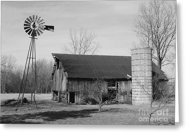 Forgotten Farm In Black And White Greeting Card