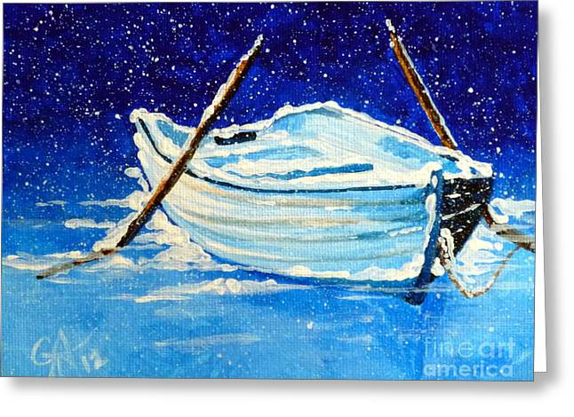 Greeting Card featuring the painting Forgotten Rowboat by Jackie Carpenter