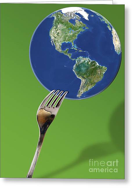 Fork And Earth Greeting Card by Monica Schroeder