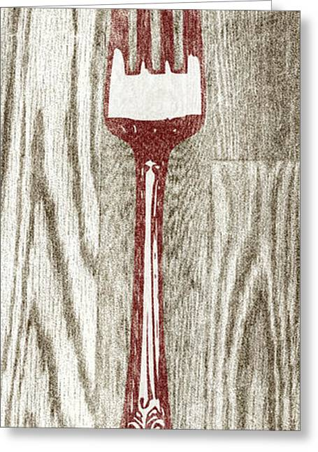 Fork And Spoon On Wood I Greeting Card