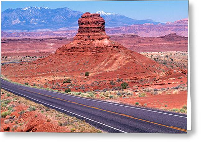 Fork In Road, Red Rocks, Red Rock Greeting Card by Panoramic Images