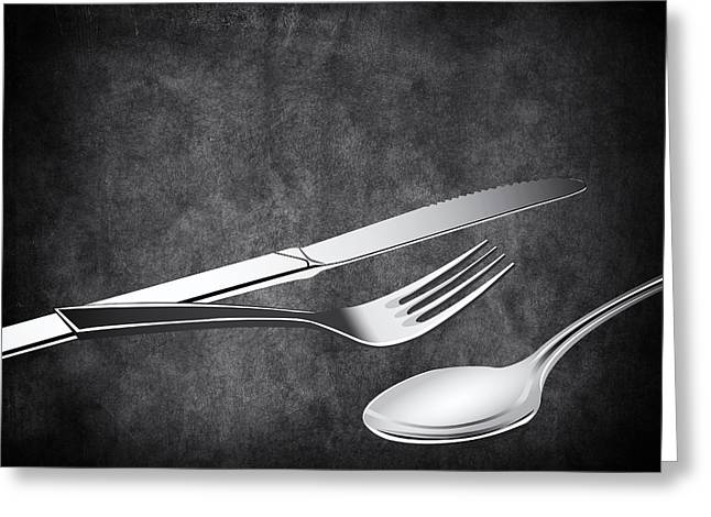 Fork Knife Spoon 10 Greeting Card by Angelina Vick