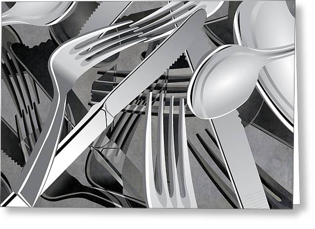 Fork Knife Spoon 7 Greeting Card by Angelina Vick