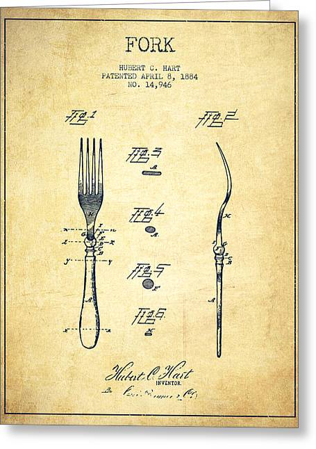 Fork Patent From 1884 - Vintage Greeting Card
