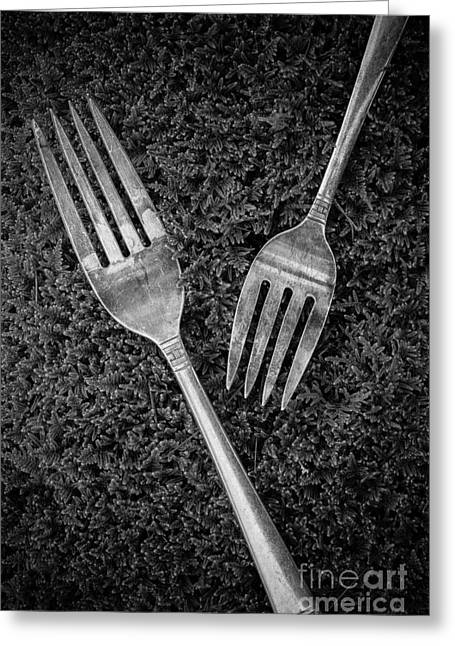 Fork Still Life Black And White Greeting Card by Edward Fielding