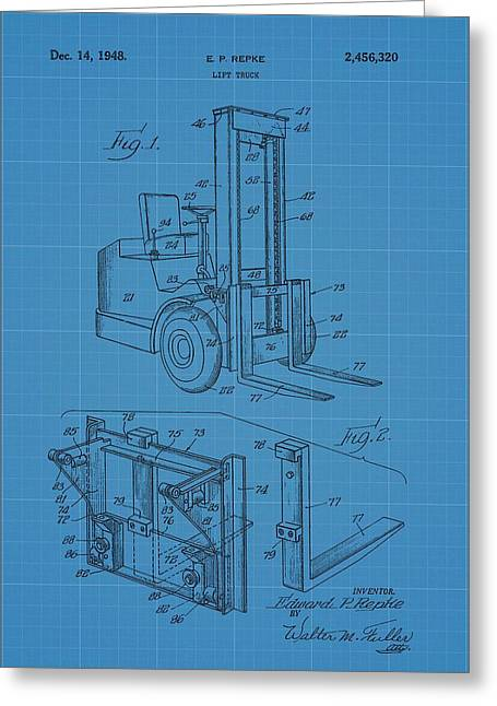 Forklift Blueprint Patent Greeting Card by Dan Sproul