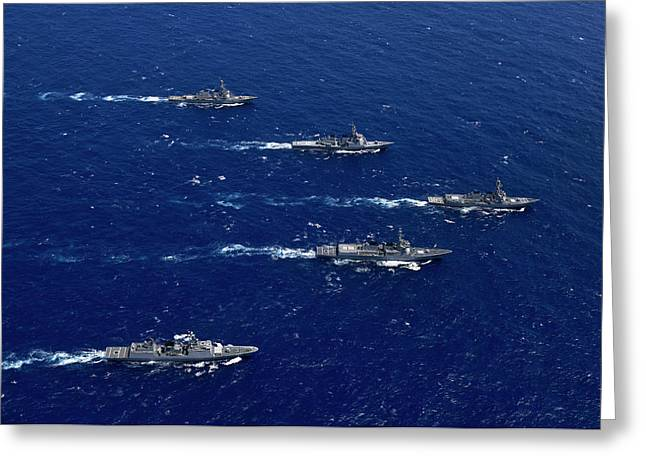 Formation Of Warships From The U.s Greeting Card by Stocktrek Images