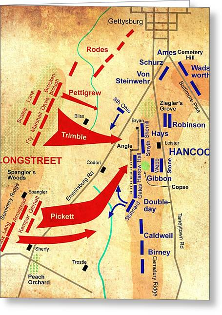 Formational Map Of Pickett's Charge - Battle Of Gettysburg Greeting Card by Mountain Dreams