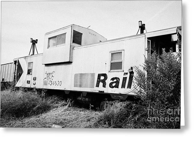 former canadian pacific railcar now great sandhills railway steel caboose Saskatchewan Canada Greeting Card by Joe Fox