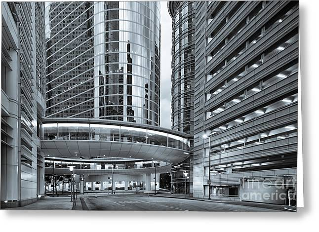Former Enron Skybridge Ghosts Of The Past - Houston Texas Greeting Card by Silvio Ligutti