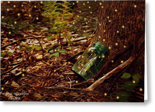 Forrest Of Fireflies  Greeting Card by Corinne Rogers
