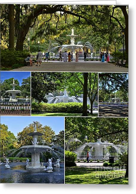 Forsyth Fountain Collage Greeting Card