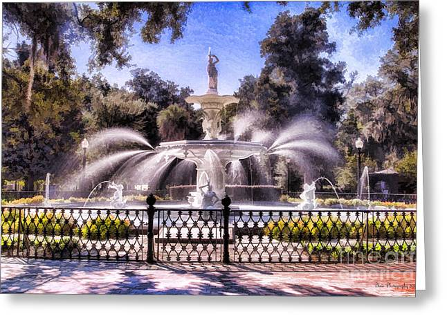 Forsyth Park Fountain Greeting Card by Linda Blair