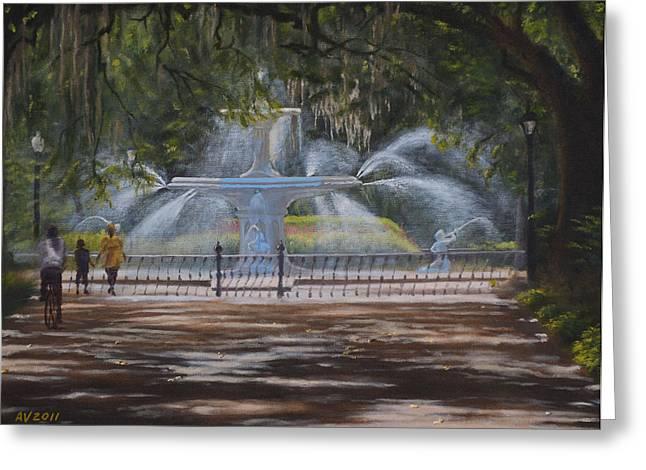 Forsyth Park Fountain Savannah Ga Greeting Card by Alex Vishnevsky