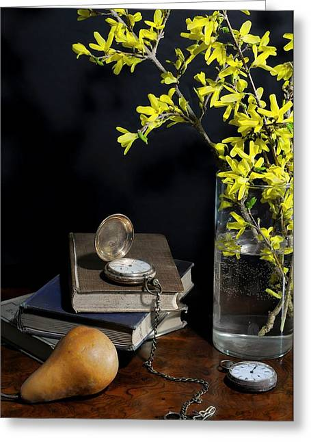 Forsythia And Pocket Watch Greeting Card