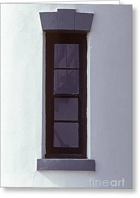 Fort Casey Lighthouse With Window And Legs Running Up The Stairs Greeting Card