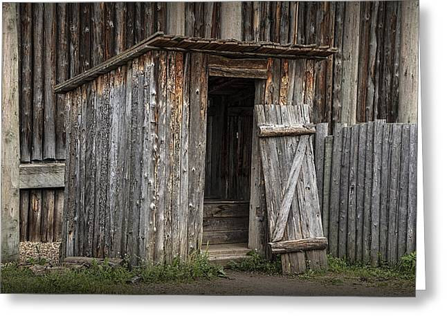Fort Edmonton Park Wooden Outhouse Greeting Card by Randall Nyhof