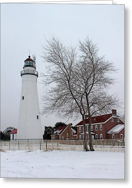 Fort Gratiot Light In Winter 5 Greeting Card by Mary Bedy