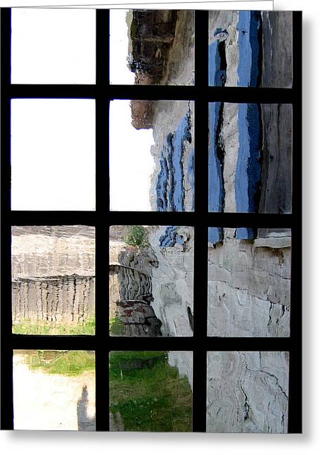 Greeting Card featuring the photograph Fort Mackinac Through An Old Window by Mary Bedy