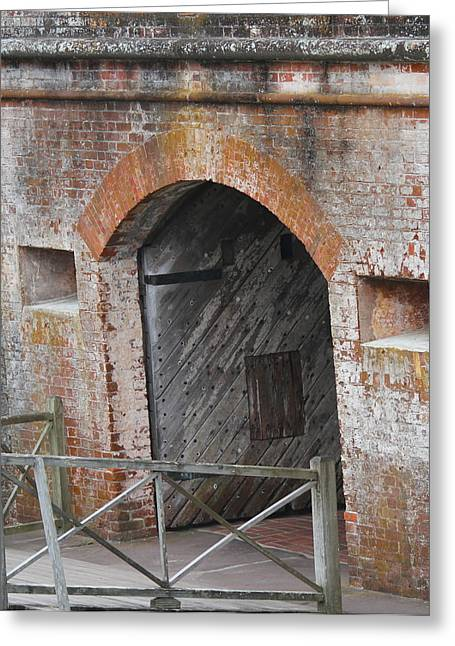 Fort Macon Entrance Greeting Card by Cathy Lindsey