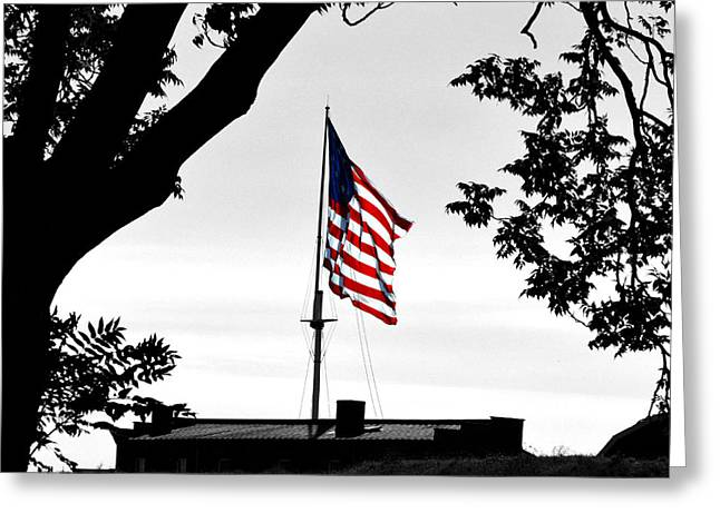 Fort Mchenry Flag Color Splash Greeting Card by Bill Swartwout