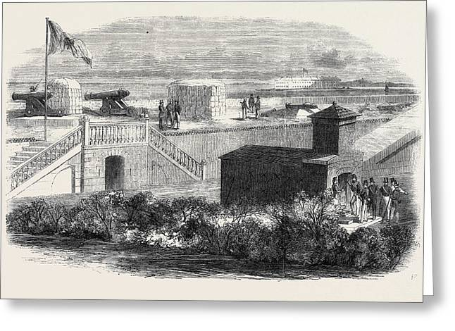 Fort Moultrie In Charleston Harbour South Carolina Greeting Card by English School