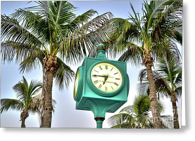 Fort Myers Beach Florida Times Square 3 Greeting Card by Timothy Lowry