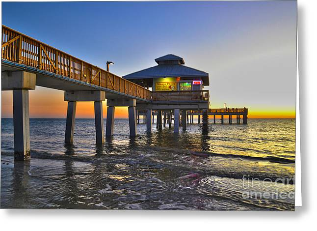 Fort Myers Beach Pier 3 Greeting Card by Timothy Lowry