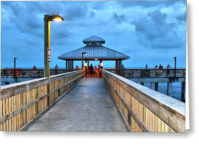 Greeting Card featuring the photograph Fort Myers Beach Pier by Rosemary Aubut