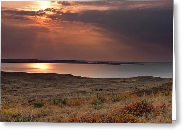 Fort Peck Lake Greeting Card by Leland D Howard