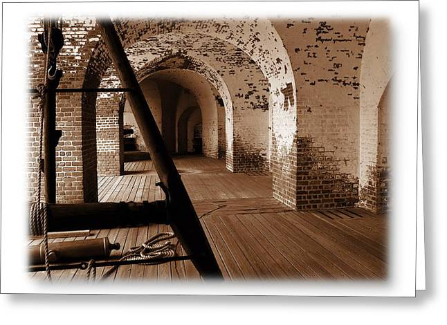 Fort Pulaski Arches Sepia Greeting Card by Jacqueline M Lewis