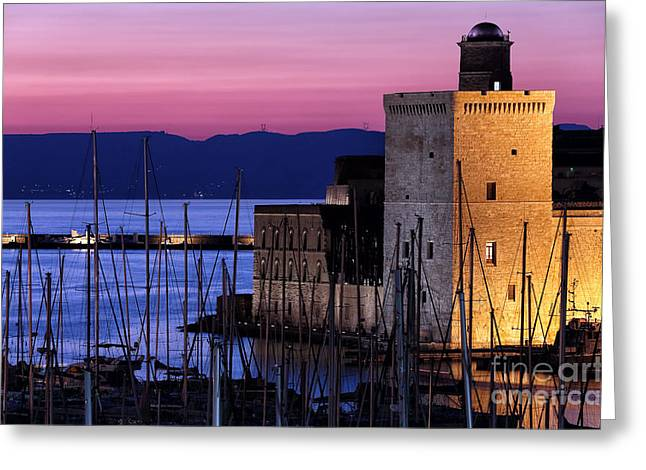 Fort Saint-jean At Night Greeting Card by John Rizzuto